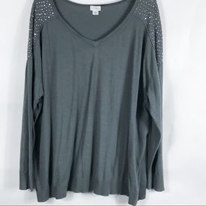 ❥ Jaclyn Smith Woman Gray Sequin Sweater 3X
